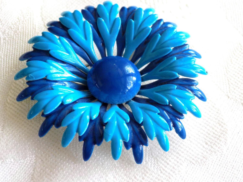 Vintage Flower Power Enamel Brooch Blue and Bright Teal Enamel Flower Pin Brooch