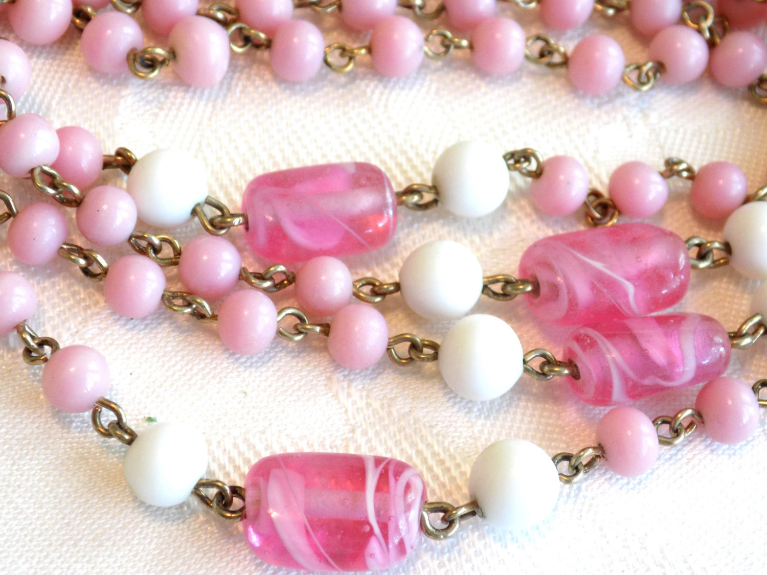 Vintage Coro Beaded Necklace Pink and White Milk Glass Beads and Swirled Pink Gl
