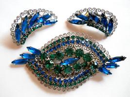 Vintage Hobé Brooch & Earring Set Sapphire Blue and Emerald Green Rhines... - $145.00