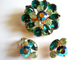 Beau Jewels Brooch and Earring Set Green and AB Rhinestone Vintage - $45.00