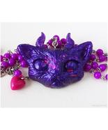 Demon Cat Necklace, Purple, Halloween, Pastel Goth, Creepy Cute - $32.00