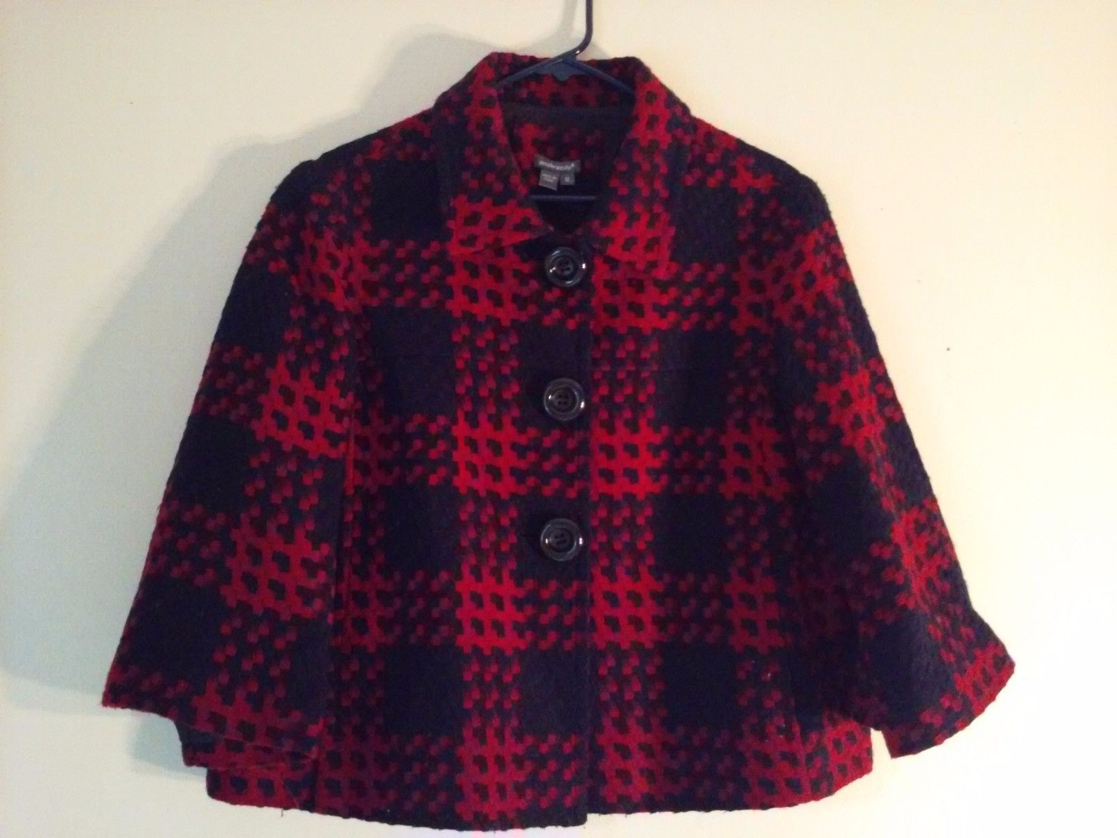 Great Condition Anthracite Size 12 Red Navy Blue Checkerboard Pattern Button Up