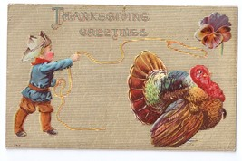 Thanksgiving Little Cowboy Lassoing Turkey Embossed P. Sander Vintage Po... - $4.99