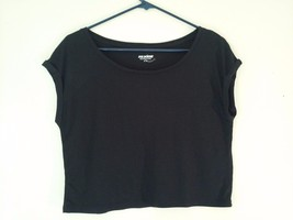 Great Condition Joe Boxer Small Polyester Rayon Blend Black Crop Top