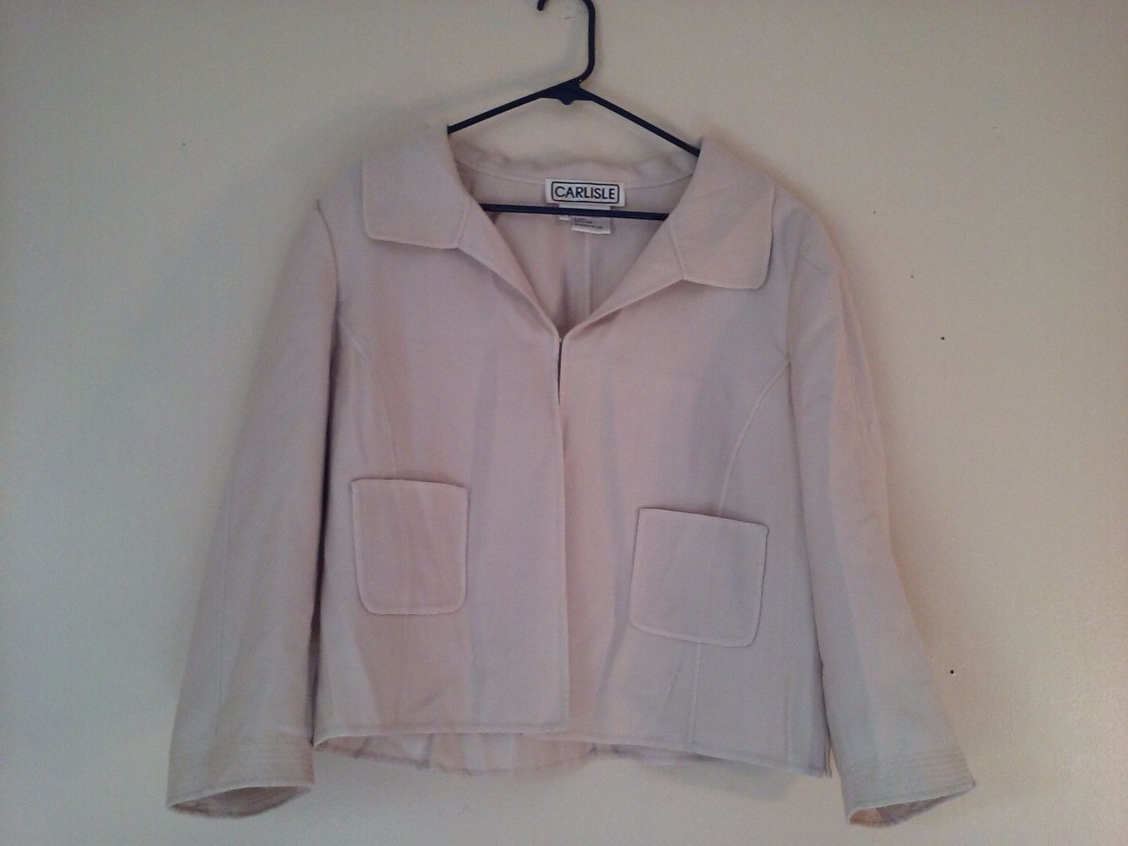 Great Condition Carlisle Cream Collared Jacket Clip Front 2 Pockets Size 16