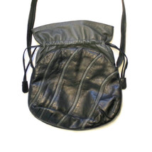 1980's Black And Gray Leather Shoulder Bag Purse, Charles Klein - $37.99