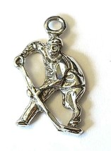 Hockey Player Fine Pewter Charm Pendant - Approx. 7/8 Inch Tall  (T202)