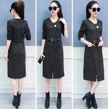 Sexy Korean Style Split Long Sleeve V-neck Autumn Winter Slim Long Knitted Dress - $16.99