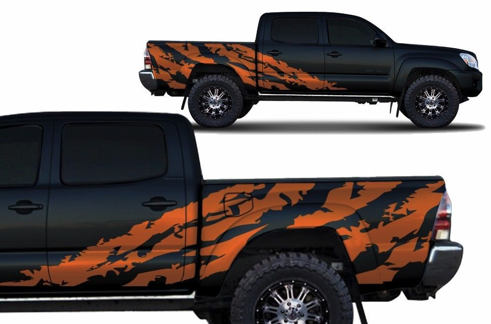 Custom Graphics Vinyl Decal SHRED Wrap for 4D Toyota Tacoma TRD 2005-2015 Orange - Mouldings & Trim