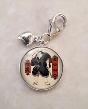925 Sterling Silver Charm Sumo Somagahana Fuchiemon 相撲 wrestling rikishi  - $29.21
