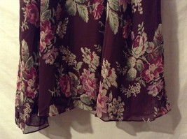 Great Condition Gayle Burbark 100% Polyester Maroon Green Pink Floral Skirt image 2