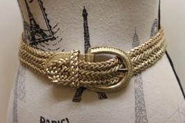 Classic Esprit Braided Women Belt Metallic Gold 100% Leather Large - €25,99 EUR