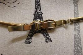 Classic Elastic Metal Gold Medium Women Belt Buckle Snake Style Thin - €34,66 EUR
