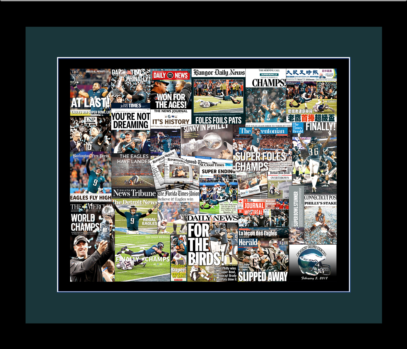Philadelphia Eagles 2018 Super Bowl Newspaper Headline Collage Print.