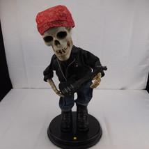 ZZ Top Gemmy Halloween Harley Animated Rockin Guitar Biker Skeleton - READ - $37.73