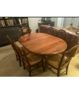 Ethan Allen Maison Round Dining Table Metal Base w/Leaf & 6 Wheat Back C... - $1,565.32