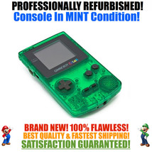 *NEW GLASS SCREEN* Nintendo Game Boy Color GBC Custom Clear Green System... - $57.11