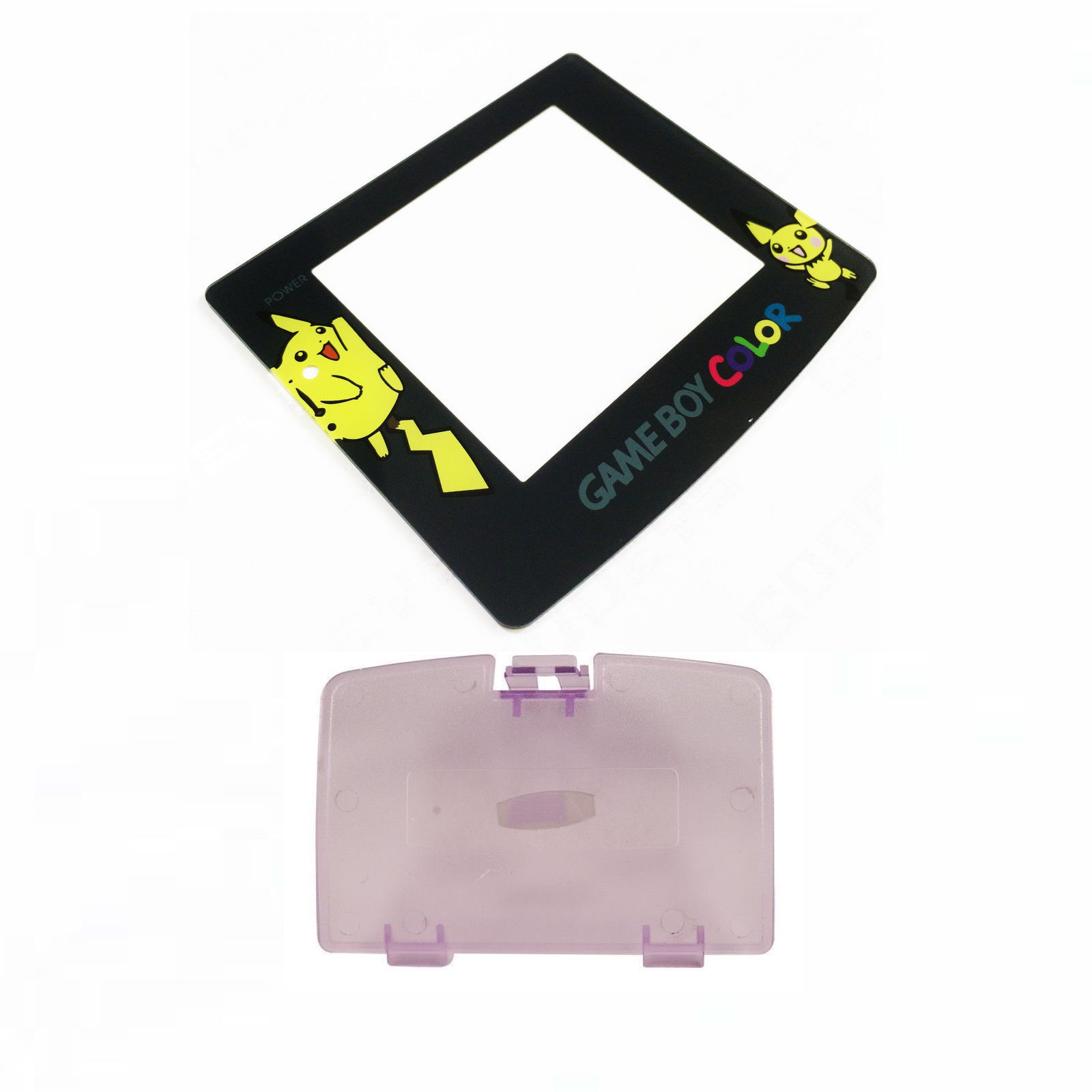 New ATOMIC PURPLE Game Boy Color Battery Cover + Pokemon Pikachu Screen GBC