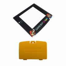New DANDELION YELLOW Game Boy Color Battery Cover + Mario & Luigi Screen... - $7.22