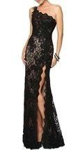 Fanmu One Shoulder Split Lace Prom Dresses Evening Gowns Black US 4 - $129.99