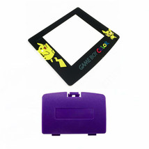 New GRAPE PURPLE Game Boy Color Battery Cover + Pokemon Pikachu Screen GBC - $9.35