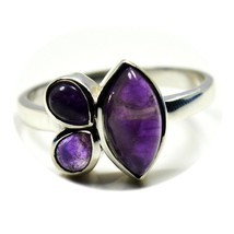 Silver Ring Real Amethyst Chakra Healing Marquise Pear Size 5,6,7,8,9,10... - $27.42
