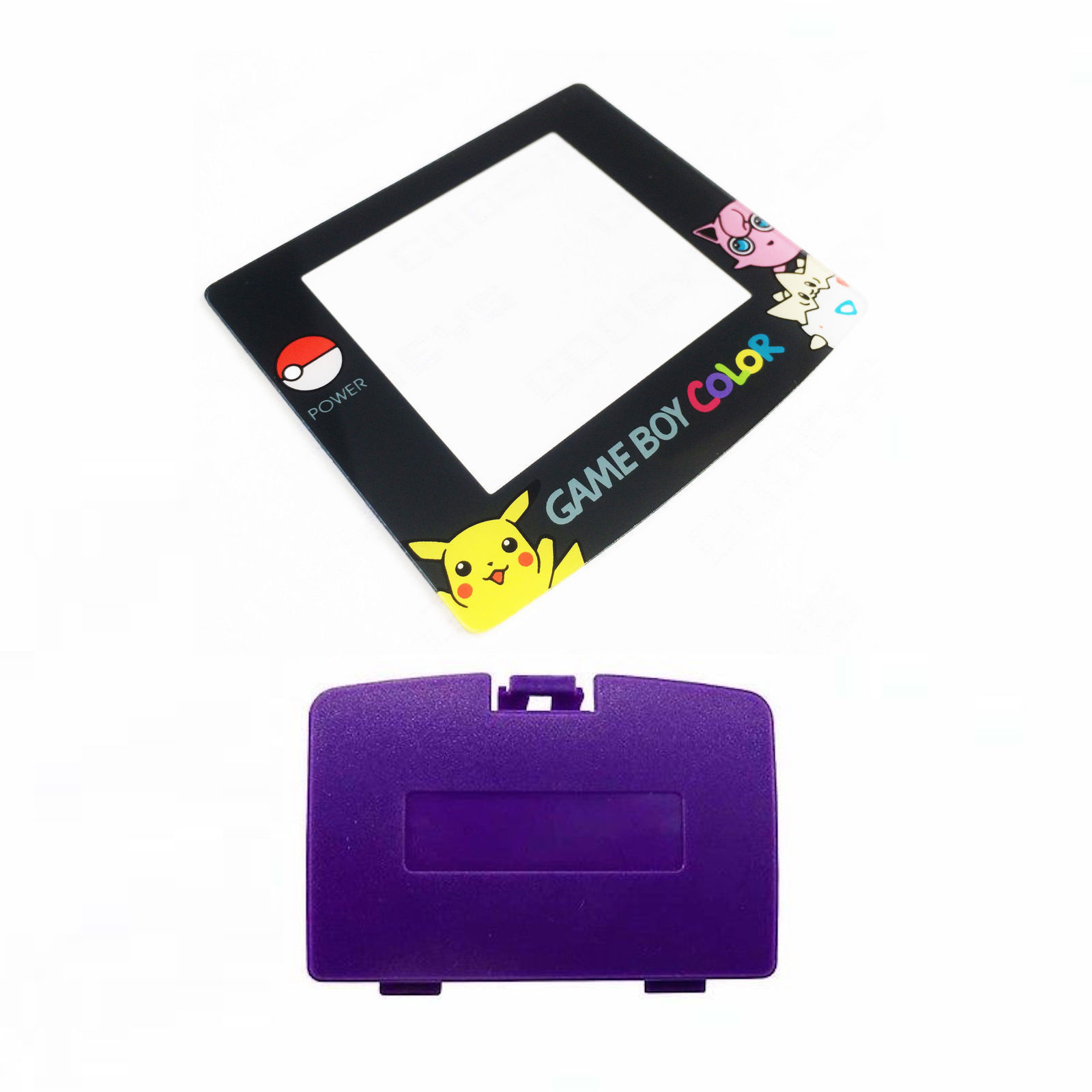 New GRAPE PURPLE Game Boy Color Battery Cover + Pokemon Jigglypuff Screen GBC