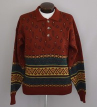 Vintage 80s Paisley Striped Men's Johnny Collar Sweater Size Large to XL - $64.99