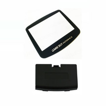 New BLACK Game Boy Advance Battery Cover + GLASS Screen Lens GBA Replace... - $9.35