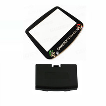 New BLACK Game Boy Advance Battery Cover + Mario & Luigi Screen Lens GBA - $9.35