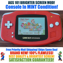 Nintendo Game Boy Advance GBA Red System AGS 101 Brighter Backlit Mod MINT - $114.24