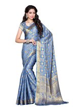 Mimosa Chiffon Silk Saree Kanjivaram Style with... - $81.00