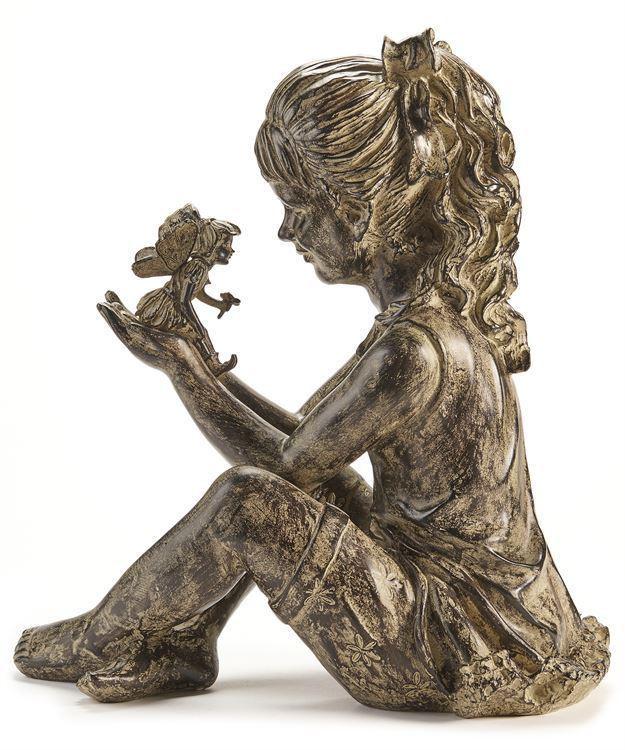 "17.5"" Sitting Girl Holding Fairy Garden Design Statue Grey & Black Polystone NEW"