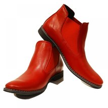 Red Men's Boots Shoes - 42 EU - Handmade Colorful Italian Leather Unique Ankl... - $149.00