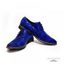 Dark Blue Dress Elegant Men's Shoes - 42 EU - Handmade Colorful Italian Leath... - $149.00