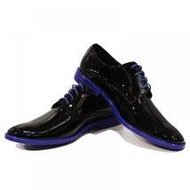 Blue & Black Patent Leather Elegant Men's Shoes - 43 EU - Handmade Colorful I... - $149.00