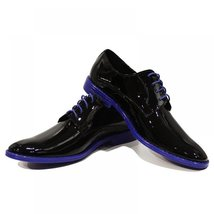 Blue & Black Patent Leather Elegant Men's Shoes - 44 EU - Handmade Color... - $149.00