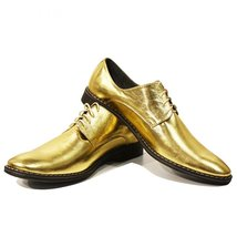 Modello Oro - 45 EU - Handmade Colorful Italian Leather Unique Men's Gol... - $149.00