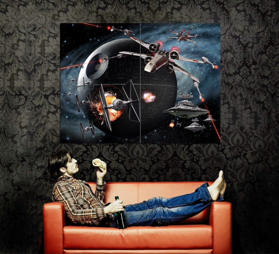 DEATH STAR X-Wing TIE Star Wars 47x35 HUGE Print Poster for sale  USA