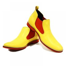 Yellow & Red Men's Boots Shoes - 40 EU - Handmade Colorful Italian Leather Un... - $149.00