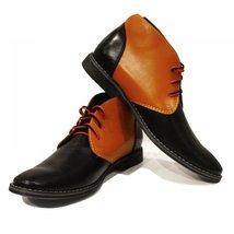 Orange & Black Elegant Handmade Boots - 42 EU - Handmade Colorful Italian Lea... - $149.00