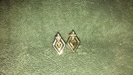 Vintage Napier signed gold tone clip/screw back earrings unique triangle... - $6.99