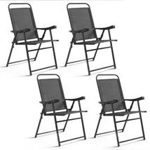 Set of 4 Folding Sling Chairs with Armrest for Garden Camping Beach Pool... - $129.01