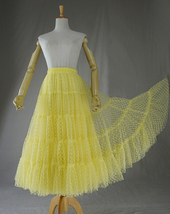 Women Tiered Long Skirt Outfit High Waisted Layered Yellow Tulle Skirt image 2