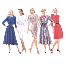 Vtg 80s Butterick 6691 Misses Blouson Dress Short Long Sleeve Flared 12-14-16 FF - $6.95