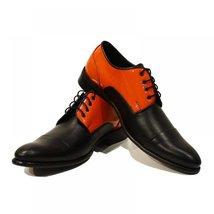 Orange & Black Elegant Men's Shoes - 45 EU - Handmade Colorful Italian Leathe... - $149.00