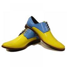 Yellow & Baybe Blue Elegant Men's Shoes - 41 EU - Handmade Colorful Italian L... - $149.00