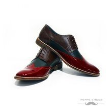 Modello Parma - 41 EU - Handmade Colorful Italian Leather Oxfords Unique Lace... - $149.00