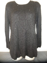 Womens BLACK Long Sweater with Beading Sz Medium - Jaclyn Smith Silk Rab... - $12.82