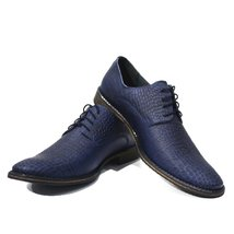 Navy Blue Elegant Men's Shoes - 40 EU - Handmade Colorful Italian Leather Oxf... - $149.00